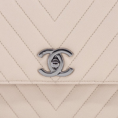 Chanel Small Chevron Coco Handle Light Beige