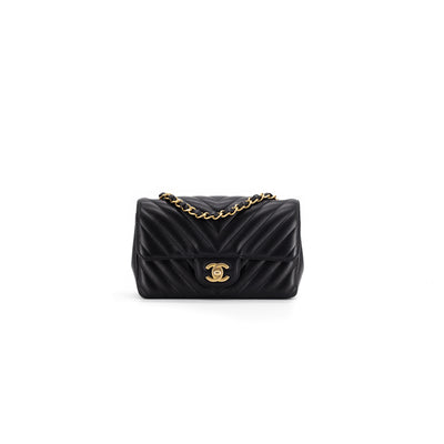 Chanel Chevron Black GHW Rectangular Mini