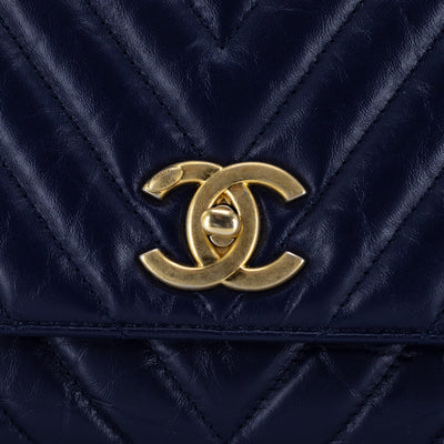 Chanel Small Chevron Coco Handle Navy