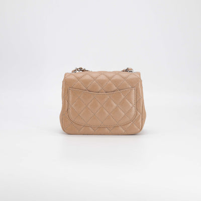 Chanel Caviar Square Mini Pearly Dark Beige
