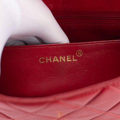 Chanel Small Red Diana Flap 24k Gold