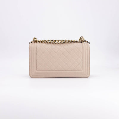 Chanel Beige Caviar Old Medium Boy