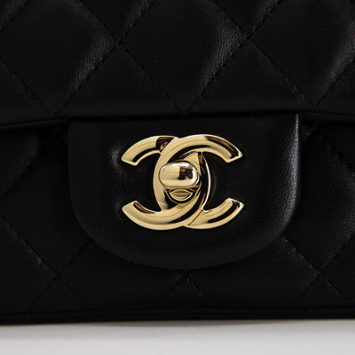 Chanel Square Mini Black Quilted Light GHW