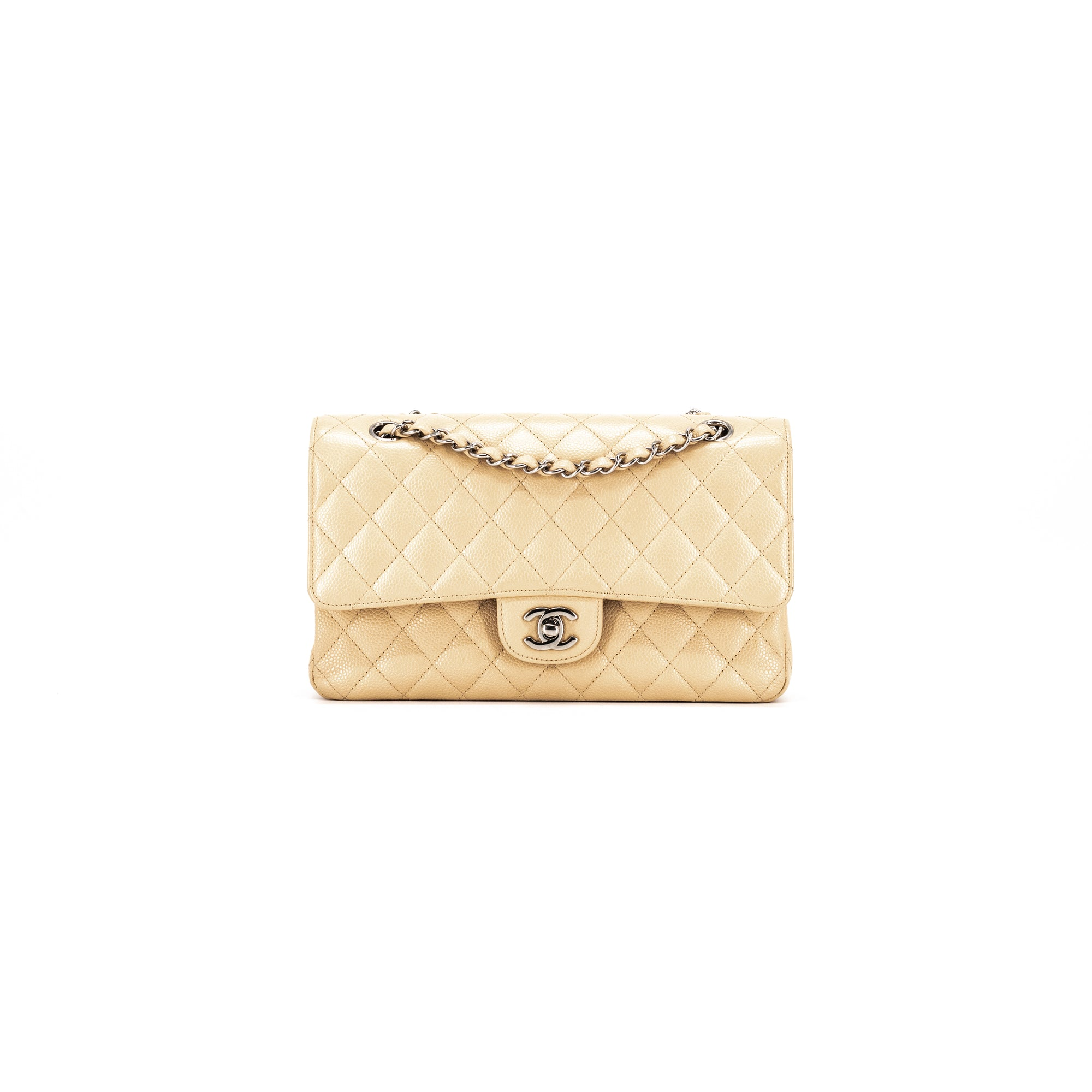 8f2ff6af4a1d CHANEL QUILTED CAVIAR MEDIUM/LARGE CLASSIC FLAP BEIGE - THE PURSE AFFAIR