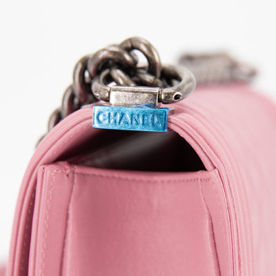 Chanel Quilted Calfskin Small Boy Pink