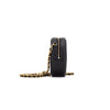 CHANEL quilted caviar round clutch with chain cross body bag black
