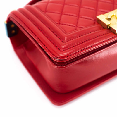 Chanel Quilted Lambskin Small Boy Red