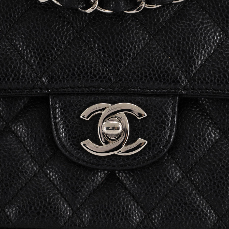 Chanel Quilted Caviar East West Flap Bag Black