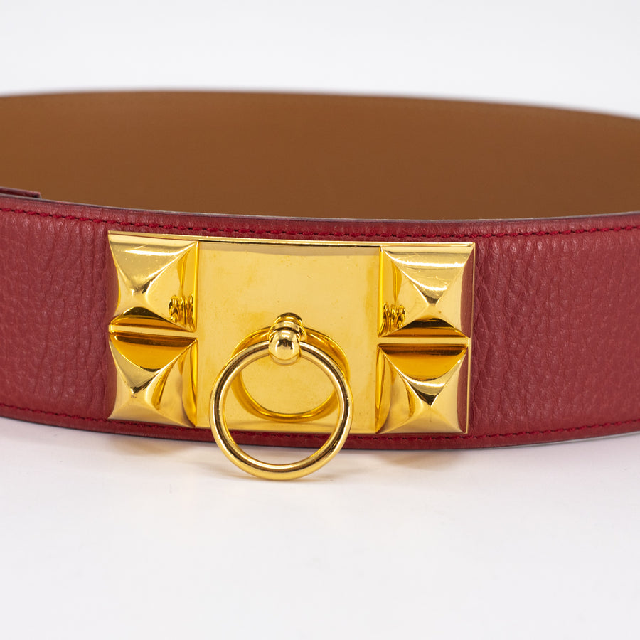 Hermes CDC Belt Red - (W) Stamp