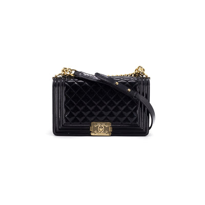 Chanel Quilted Patent Old Medium Boy Black