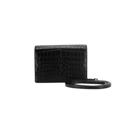 Saint Laurent Toy Kate Croc-effect Shoulder Bag Black