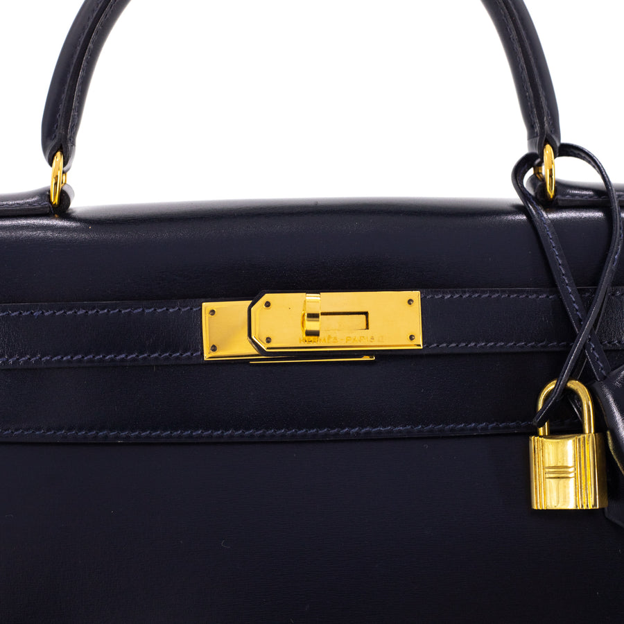 Hermes Kelly 28 Navy - (S) Stamp