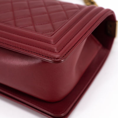 Chanel Quilted Old Medium Boy Maroon