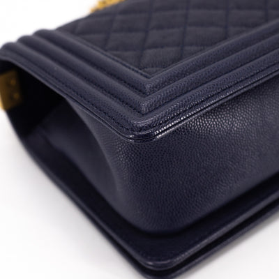 Chanel Quilted Caviar Old Medium Boy Navy
