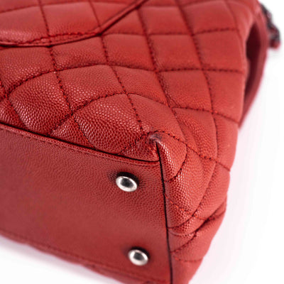 Chanel Small Caviar Quilted Coco Handle Dark Red