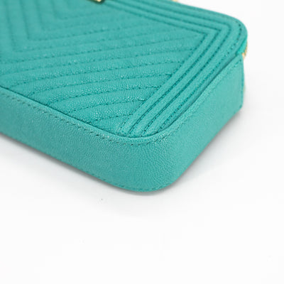 Chanel Chevron Clutch on Chain Turquoise