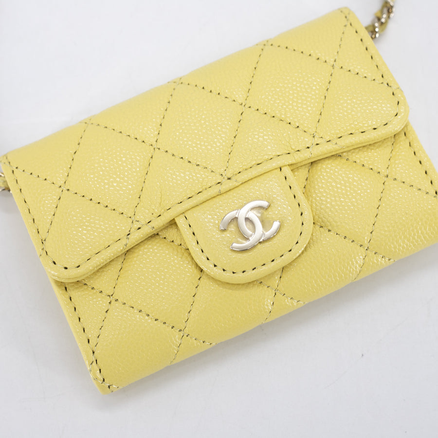 Chanel Quilted Caviar Cardholder on Chain Yellow