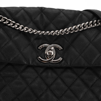 Chanel Quilted Caviar Shoulder/Tote Bag Black
