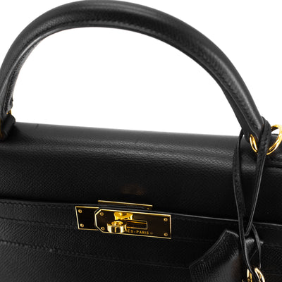 hermes black bag close up