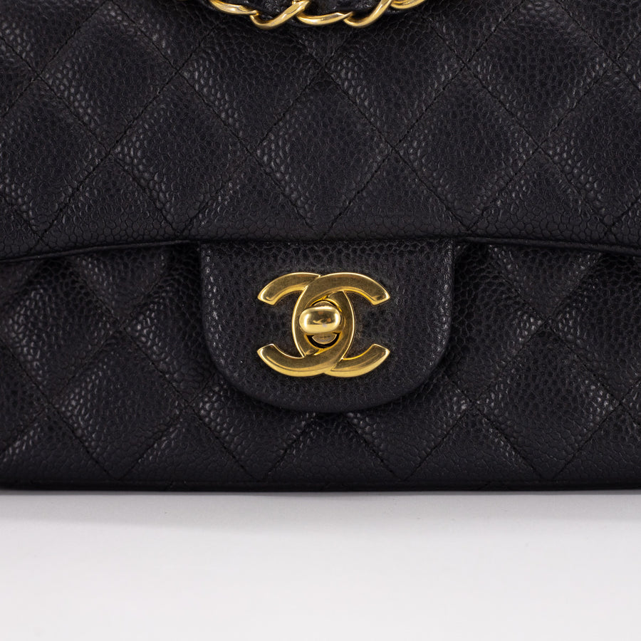 Chanel Quilted Caviar Rectangular Mini 15C Pearly Black