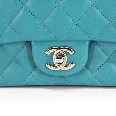 Chanel Quilted Lambskin Rectangular Mini Turquoise