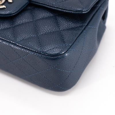 Chanel Quilted Caviar Rectangular Mini Iridescent Navy