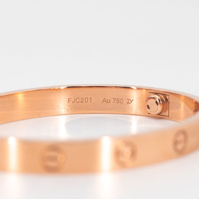 Cartier Love Bangle 18k Rose Pink Gold size 16 February 2018