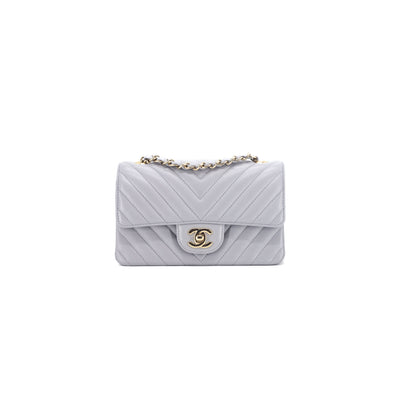 Chanel 20S Chevron Rectangular Mini Grey