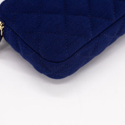 Chanel Quilted Canvas Clutch On Chain WOC Blue