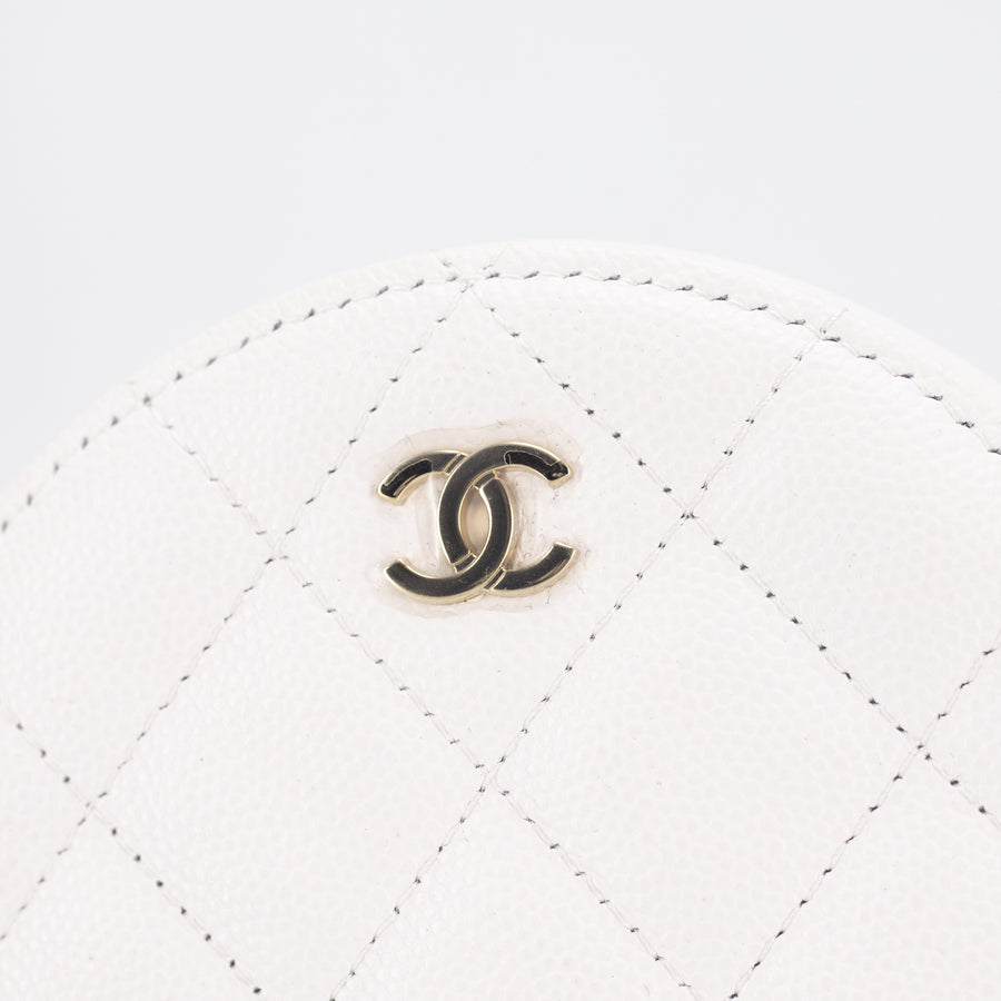 Chanel Quilted Caviar Round Clutch On Chain Ivory
