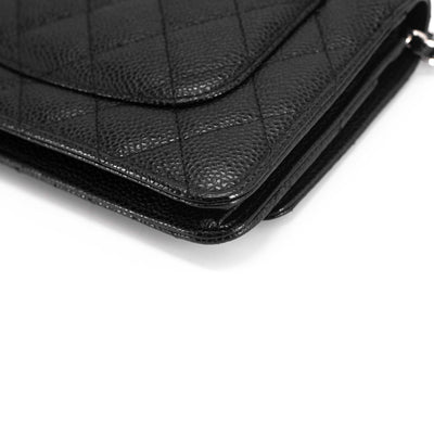 Chanel Quilted Caviar Wallet On Chain WOC Black
