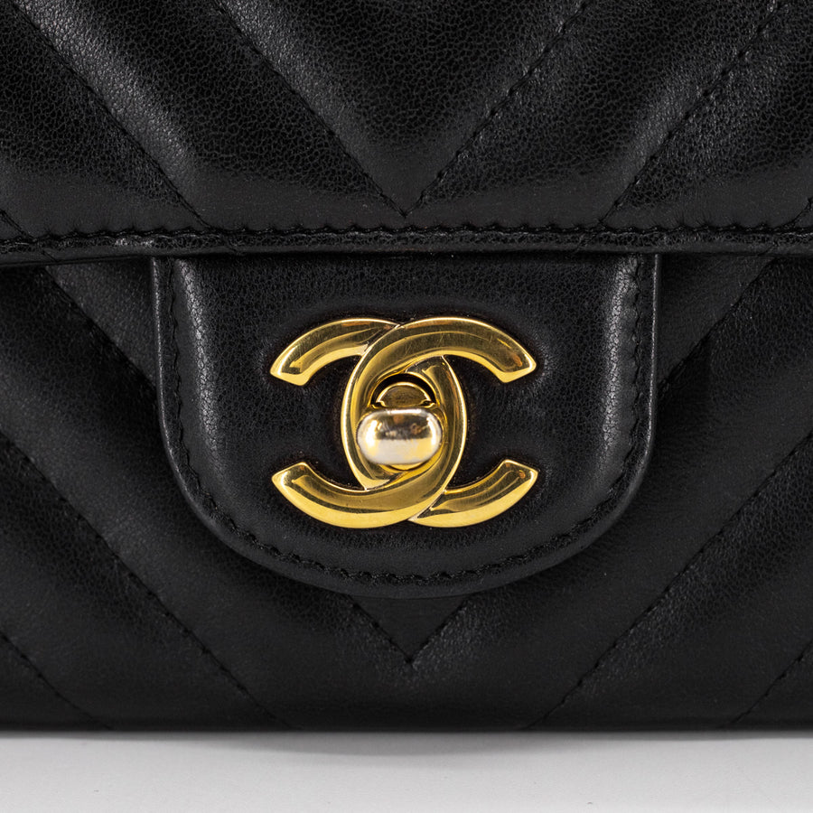 Chanel Chevron Rectangular Mini Black