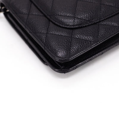 Chanel Caviar Wallet on Chain WOC Black