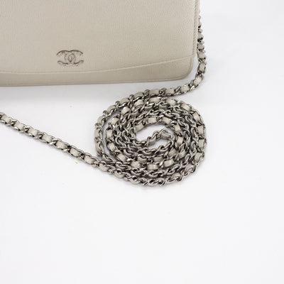 Chanel Caviar WOC Wallet on Chain Silver