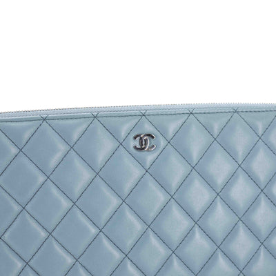 Chanel Quilted Medium Charms O Case Light Blue