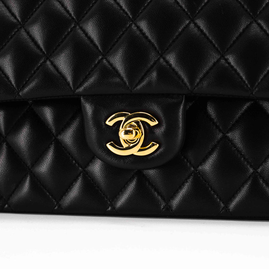 Chanel Quilted Lambskin Medium/Large Classic Double Flap Black