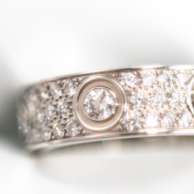 Cartier Love Pave Diamond Ring 18k White Gold