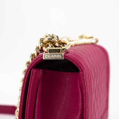 Chanel Quilted Caviar Old Medium Boy Raspberry