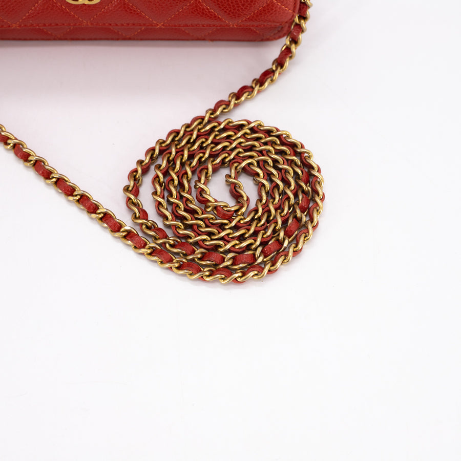 Chanel Quilted Caviar WOC Wallet on Chain Red