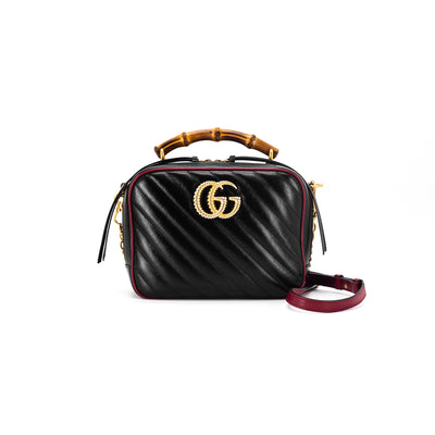 Gucci Marmont Bamboo Top Handle Bag Crossbody Black