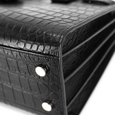 Saint Laurent Baby Sac De Jour Black Croc Embossed