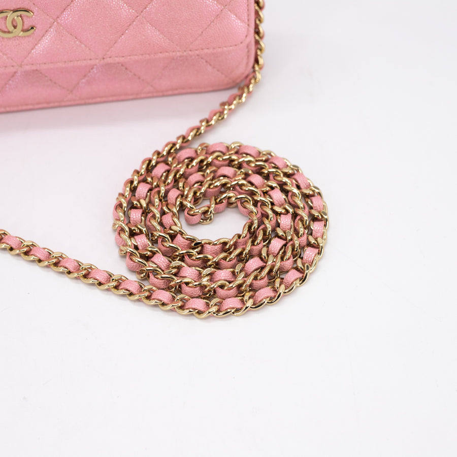 Chanel 19S Quilted Wallet on Chain WOC Iridescent Pink
