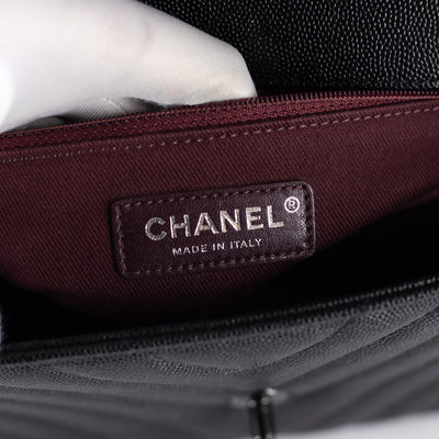Chanel Small Caviar Chevron Coco Handle Black