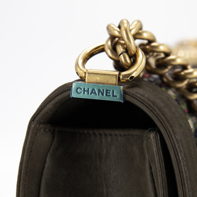Chanel Old Medium Tweed Boy Khaki