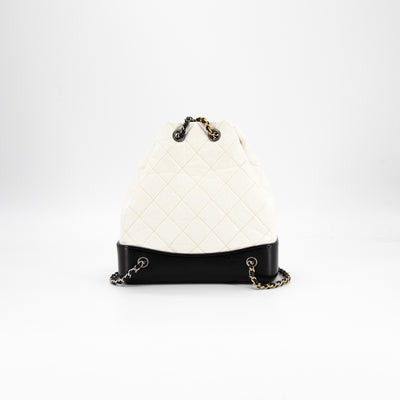 Chanel Quilted Small Gabrielle Backpack White/Black