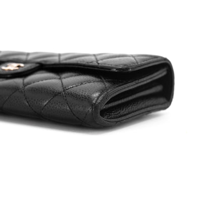 Chanel Quilted Caviar Wallet Black