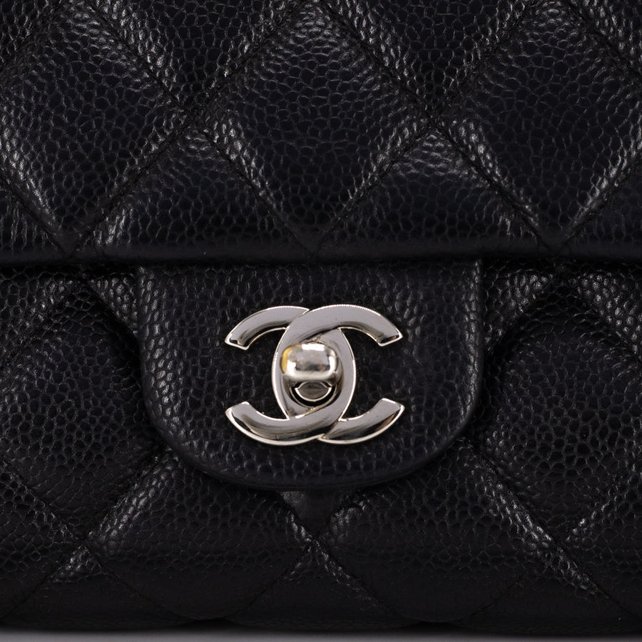 Chanel Quilted Caviar Jumbo Clutch Black