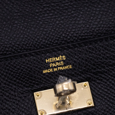 Hermes Kelly Full Size Classic Wallet Black - [R] Stamp