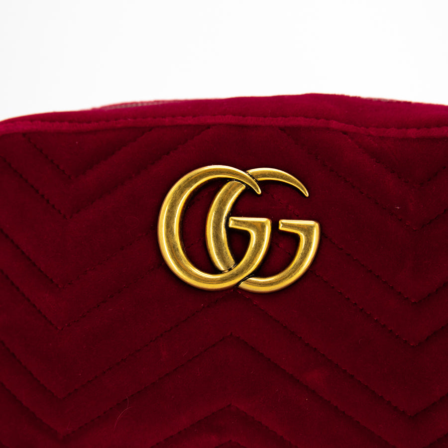 Gucci GG  Red Marmont Gucci Velvet Camera Bag