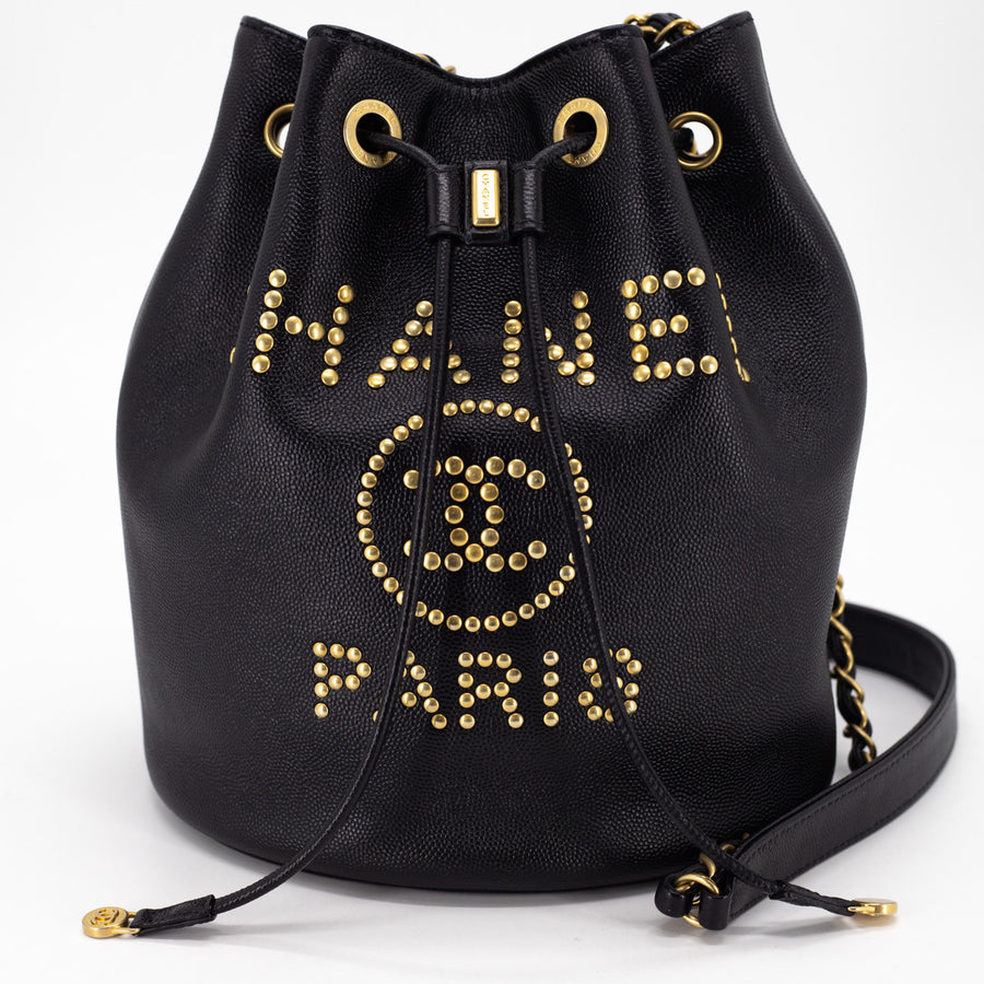 Chanel Deauville Caviar Bucket Bag Black